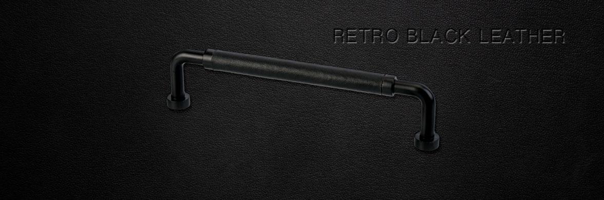 Handtag Retro Svart Metall / Svart Läder